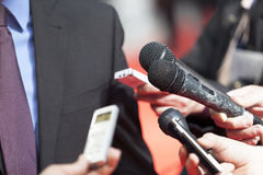 Media interview. With microphones. Reporters Royalty Free Stock Photography
