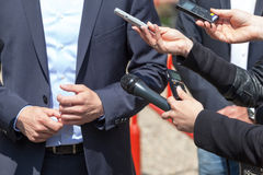 Media interview. News conference. Stock Image