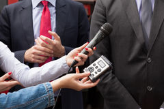 Media interview. News conference. Royalty Free Stock Photos