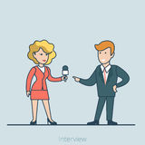 Media interview press woman business man vector Li Stock Image