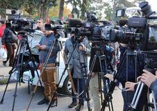 Media interview. Video cameras directed to the interlocutor at Indagra Fair 2017 ROMEXPO, Bucharest, Romania Stock Photo