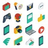 Media Isometric Icons Set Stock Images