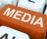 Media Key Shows Multimedia Newspapers Or Tv Royalty Free Stock Photos
