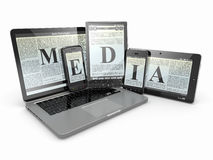 Media. Laptop, phone and tablet pc. Stock Images