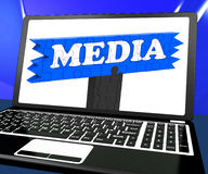 Media On Laptop Shows Internet Broadcasting Royalty Free Stock Image