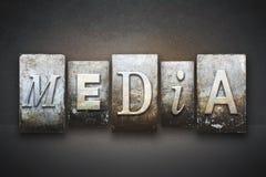 Media Letterpress. The word MEDIA written in vintage letterpress type royalty free stock photography