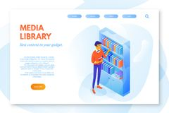 Media library vector landing page template. Student near bookshelf web banner with text space. Smart pupil in glasses cartoon character. Nerd with book. E-book royalty free illustration