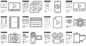 Media line icon set. Media vector line icon set isolated on white background. Media line icon set for infographic, website or app. Scalable icon designed on a Stock Images