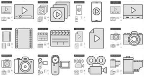 Media line icon set. Media vector line icon set isolated on white background. Media line icon set for infographic, website or app. Scalable icon designed on a Stock Photography