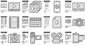 Media line icon set. Media vector line icon set isolated on white background. Media line icon set for infographic, website or app. Scalable icon designed on a Royalty Free Stock Photos