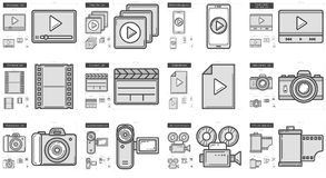 Media line icon set. Media vector line icon set isolated on white background. Media line icon set for infographic, website or app. Scalable icon designed on a Stock Image