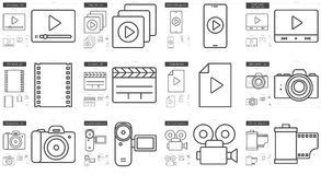 Media line icon set. Media vector line icon set  on white background. Media line icon set for infographic, website or app. Scalable icon designed on a grid Royalty Free Stock Image