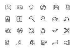 Media Line Vector Icons 3 Royalty Free Stock Photos