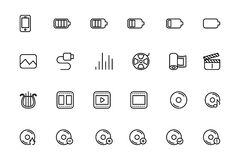 Media Line Vector Icons 2 Royalty Free Stock Images