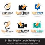 Media Logo Template Design Vector d'étoile Photos stock