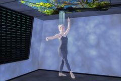Media mélangé du danseur un 3d d'hologramme illustration stock