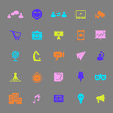 Media marketing color icons on gray background Royalty Free Stock Photo