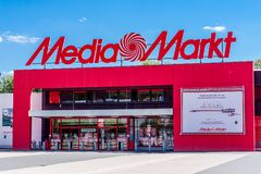 Media Markt Bayreuth Germany. Bavaria. Media Markt is a German multinational chain of stores selling consumer electronics with numerous branches throughout Royalty Free Stock Images