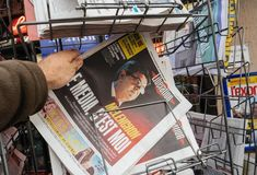 The Media is Me jean Luc Melenchon newspaper liberation France Royalty Free Stock Photography