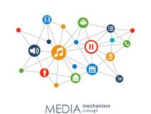 Media mechanism concept. Growth abstract background with integrated meta balls, integrated icon for digital, strategy. Internet, network, connect, communicate Stock Images