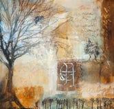 Media mezclados que pintan con los árboles del invierno Fotografía de archivo libre de regalías