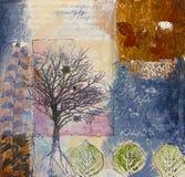 Media mezclados que pintan con los árboles y las hojas Fotos de archivo libres de regalías