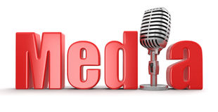 Media with Microphone (clipping path included) Stock Photo