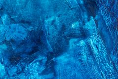 Media misti blu variopinti che dipingono il primo piano di superficie di macro dei dettagli Immagine Stock
