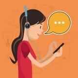 Media mobile de social de communication de causerie d'écouteurs de fille illustration stock