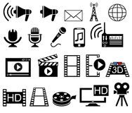 Media and Movie icons set Stock Photography