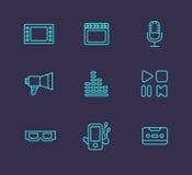 Media or multimedia icon set. Black media or multimedia icon set Stock Image