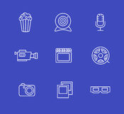 Media or multimedia icon set. Black media or multimedia icon set Royalty Free Stock Photos