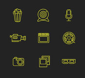 Media or multimedia icon set. Black media or multimedia icon set Stock Images