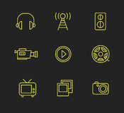 Media or multimedia icon set Royalty Free Stock Photography