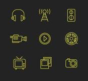 Media or multimedia icon set. Black media or multimedia icon set Royalty Free Stock Photography