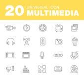 Media or multimedia icon set. Black media or multimedia icon set Royalty Free Stock Photo