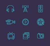 Media or multimedia icon set. Black media or multimedia icon set Stock Photos