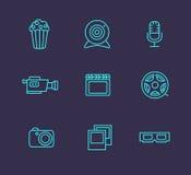 Media or multimedia icon set. Black media or multimedia icon set Royalty Free Stock Images