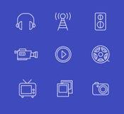 Media or multimedia icon set. Black media or multimedia icon set Stock Photography