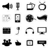 Media or multimedia icons. Black media or multimedia icon set Royalty Free Stock Photos