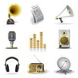 Media and music icons. Set of 9 media and music icons, gold series Stock Images