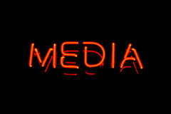 Media neon sign royalty free stock image