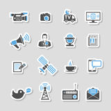 Media and News Icons Sticker Set. With Journalism, Television, Newspaper and SMS in two color. Vector illustration Stock Photo
