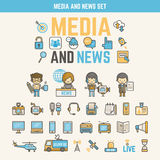Media and news infographic elements for kid. Including characters and icons Royalty Free Stock Image
