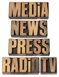 Media, notícia, imprensa, rádio e tevê Fotografia de Stock