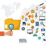 Media numérique de stratégie marketing de recherche de participation de main illustration libre de droits