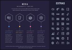 Media infographic template, elements and icons. Stock Photography