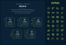 Media infographic template, elements and icons. Media options infographic template, elements and icons. Infograph includes line icon set with global social Royalty Free Stock Photography