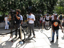 Media at the Partial Solar Eclipse Royalty Free Stock Photography