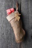 Media pasada de moda de la Navidad de la arpillera Fotos de archivo